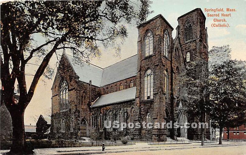 Sacred Heart Church Catholic - Springfield, Massachusetts MA Postcard