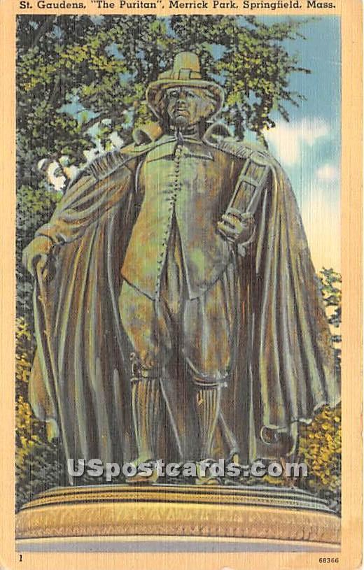 St Gaudens the Puritan at Merrick Park - Springfield, Massachusetts MA Postcard