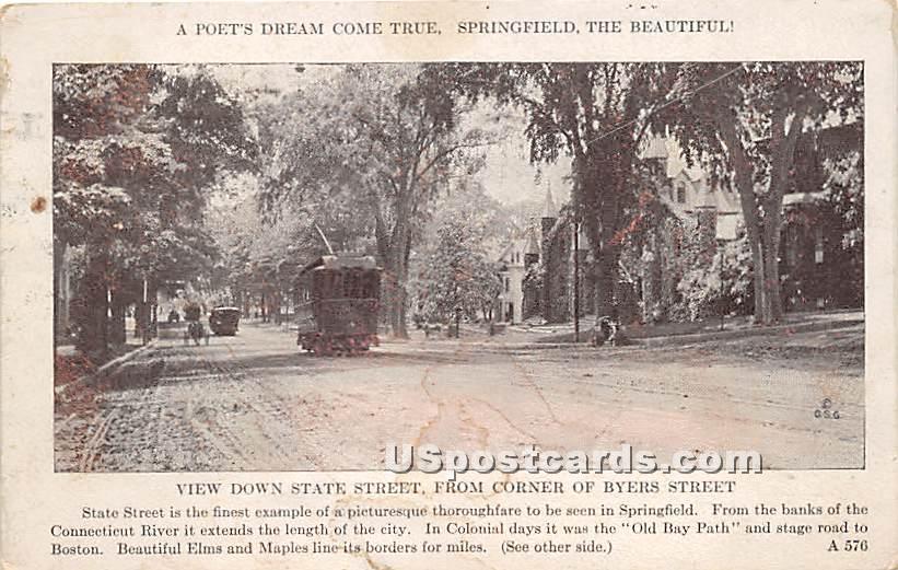 State Street from corner of Byers Street - Springfield, Massachusetts MA Postcard