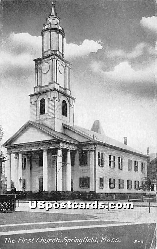 The First Church - Springfield, Massachusetts MA Postcard