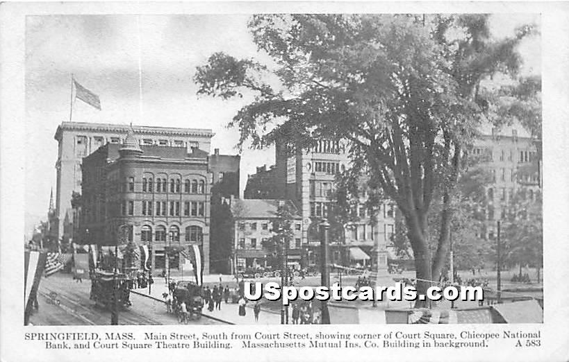 Main Street south from Court Street - Springfield, Massachusetts MA Postcard