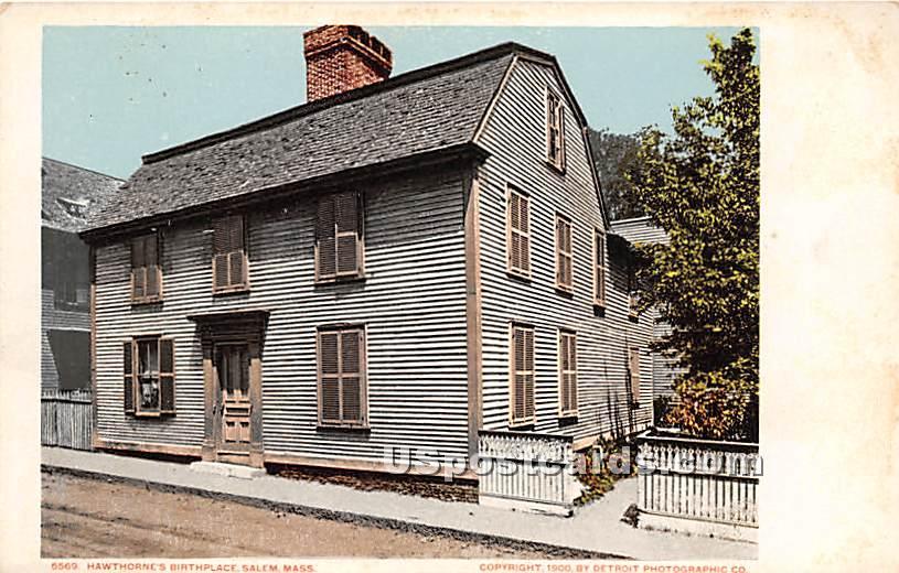 Hawthorne's Birthplace - Salem, Massachusetts MA Postcard