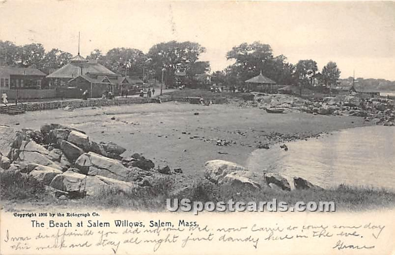The Beach at Salem Willows - Massachusetts MA Postcard