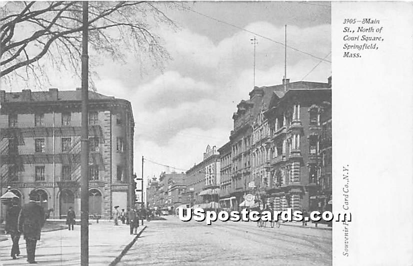 Main Street, North of Court Square - Springfield, Massachusetts MA Postcard