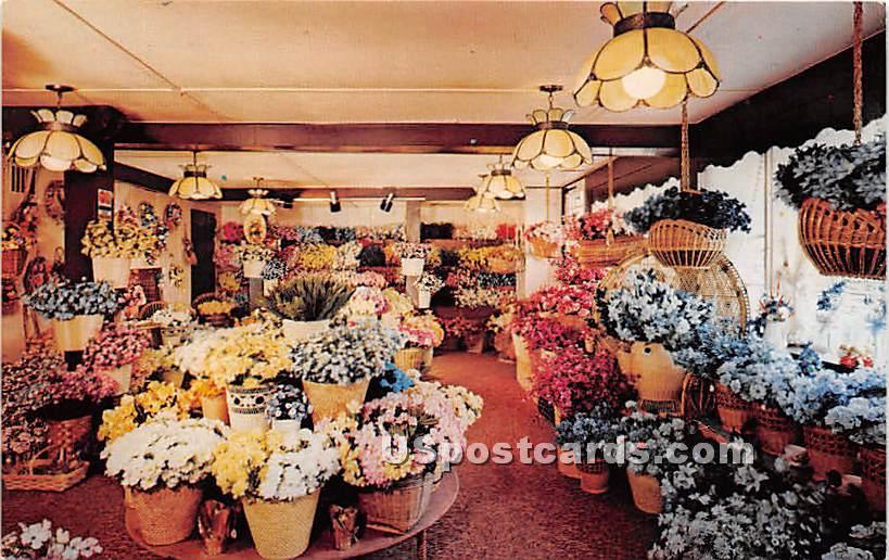 Silk Flower display at Basketville - Sturbridge, Massachusetts MA Postcard