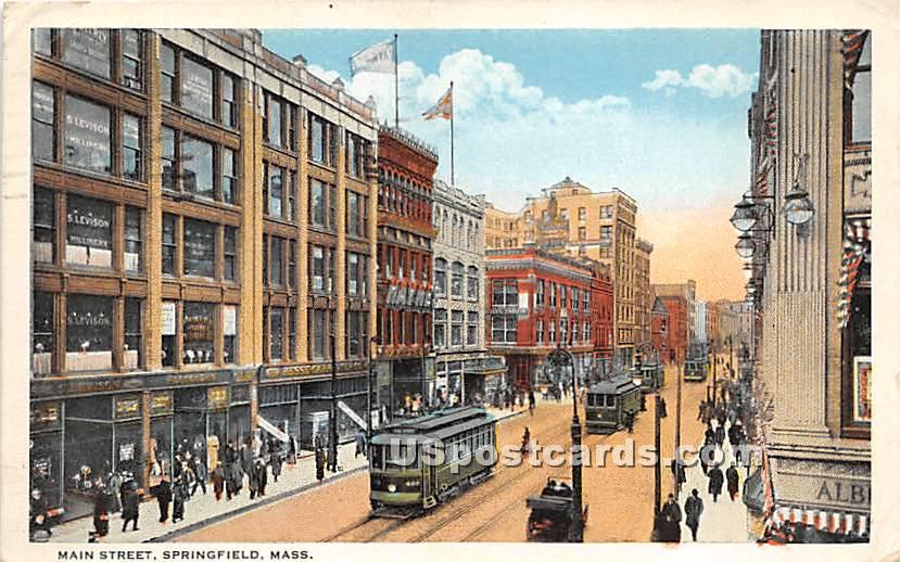 Main Street - Springfield, Massachusetts MA Postcard