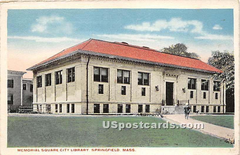 Memorial Square City Library - Springfield, Massachusetts MA Postcard