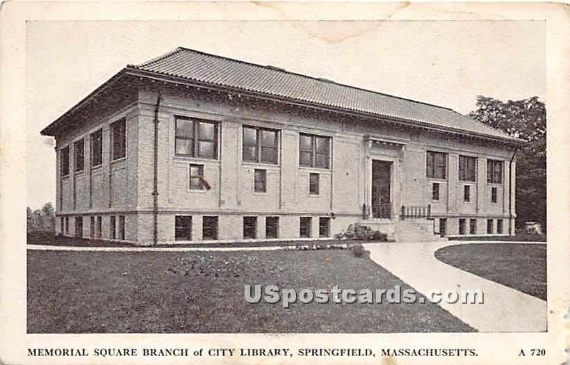 Memorial Square Branch of City Library - Springfield, Massachusetts MA Postcard
