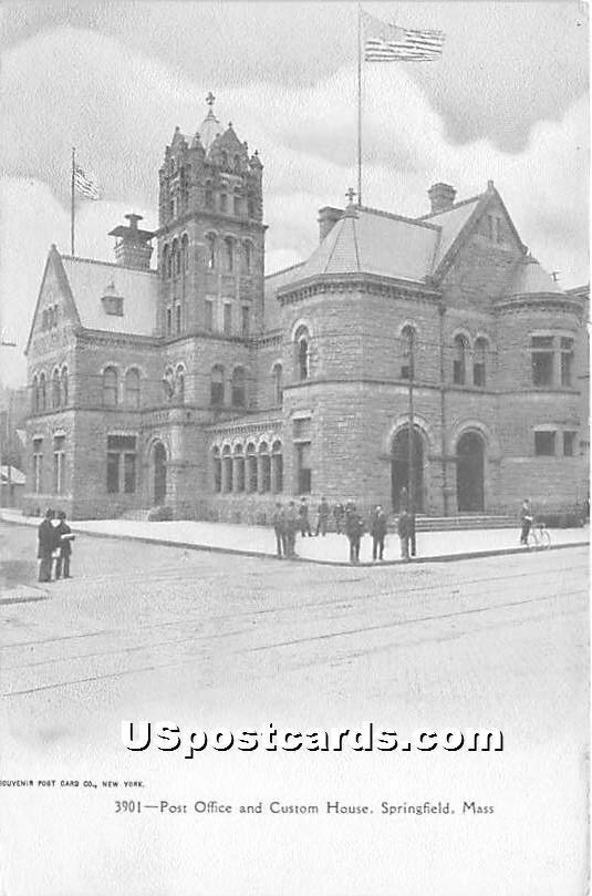 Post Office & Custom House - Springfield, Massachusetts MA Postcard