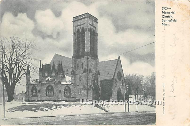 Memorial Church - Springfield, Massachusetts MA Postcard