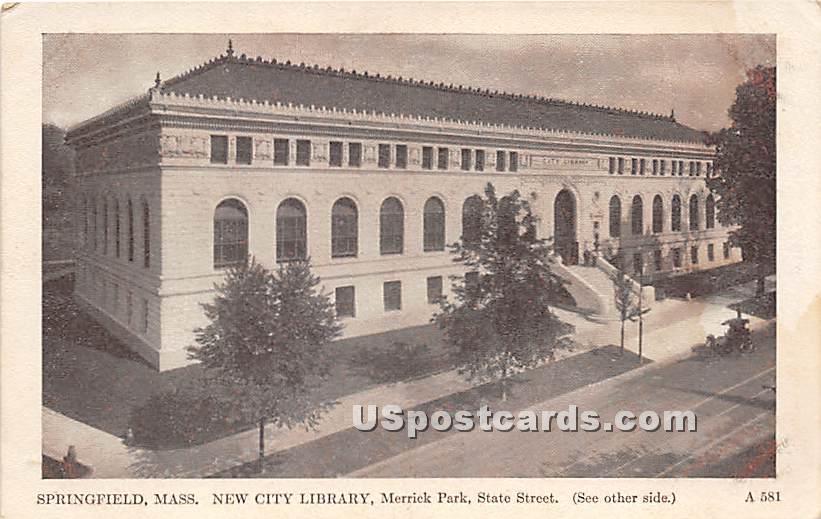 New City Library & Merrick Park - Springfield, Massachusetts MA Postcard