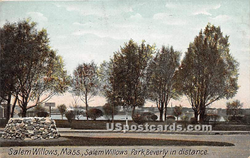 Salem Willows Park & Beverly in distance - Massachusetts MA Postcard