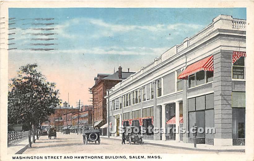 Washington Street & Hawthorne Building - Salem, Massachusetts MA Postcard