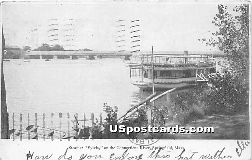 Steamer Sylvia on the Connecticut River - Springfield, Massachusetts MA Postcard