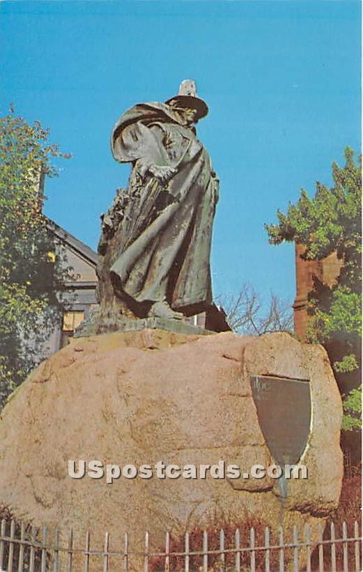 Roger Conant Statue on Washington Street at the Common - Salem, Massachusetts MA Postcard