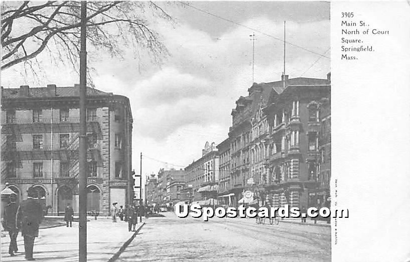 Main Street North of Court Square - Springfield, Massachusetts MA Postcard