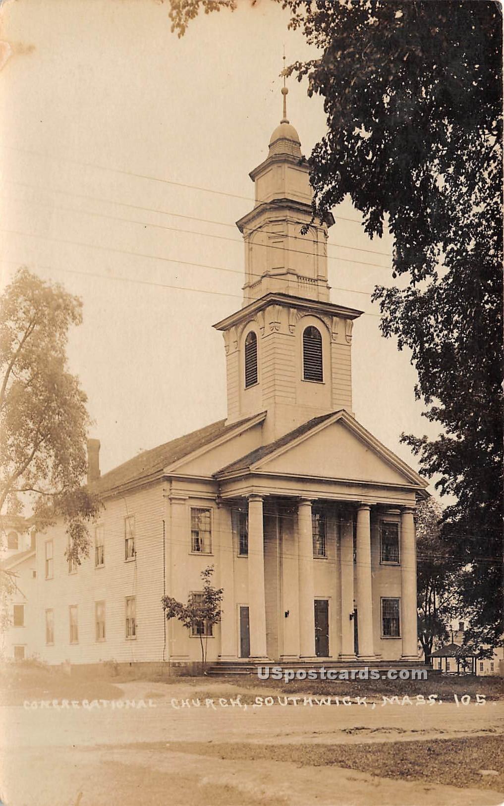 Congregational Church - Southwick, Massachusetts MA Postcard