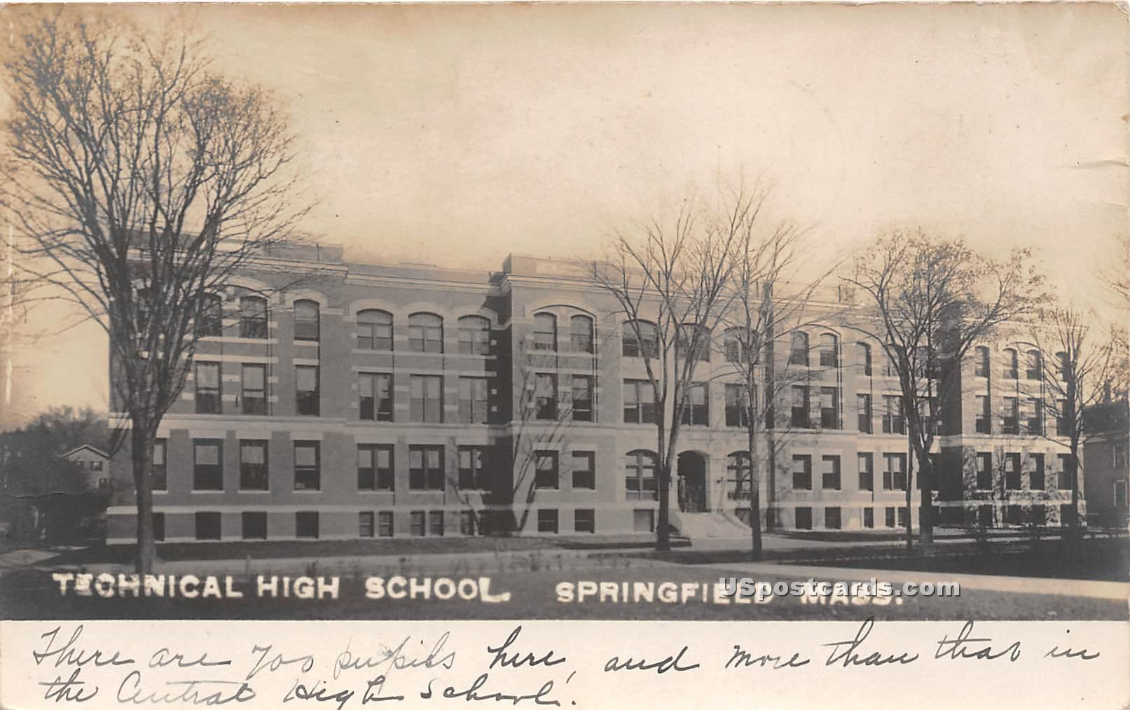 Technical High School - Springfield, Massachusetts MA Postcard