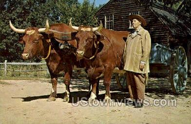 Farmer, Ox Cart & Oxen - Sturbridge, Massachusetts MA Postcard