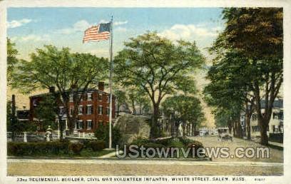 23rd Regimental Boulder - Salem, Massachusetts MA Postcard