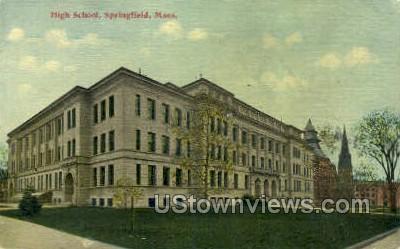High School - Springfield, Massachusetts MA Postcard