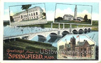 Greetings From - Springfield, Massachusetts MA Postcard