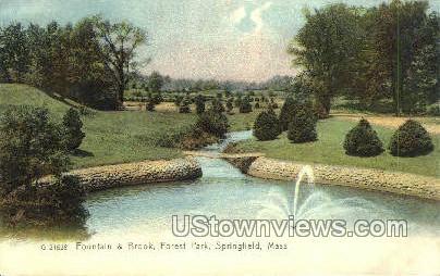 Fountain & Brook - Springfield, Massachusetts MA Postcard
