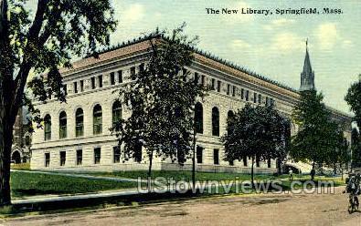 New Library - Springfield, Massachusetts MA Postcard