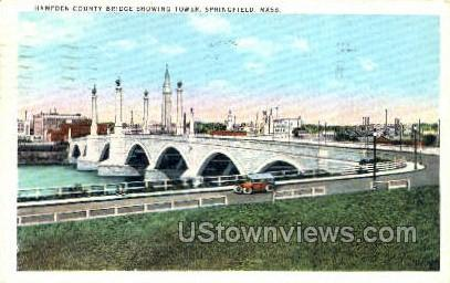 Hampden County Bridge - Springfield, Massachusetts MA Postcard