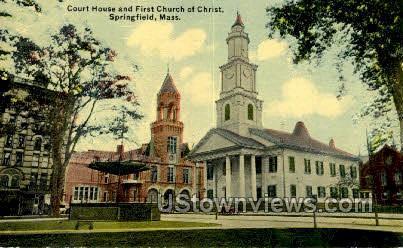 Court House & First Church - Springfield, Massachusetts MA Postcard
