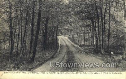 Driveway, Sterling Camp Grounds - Sterling Junction, Massachusetts MA Postcard
