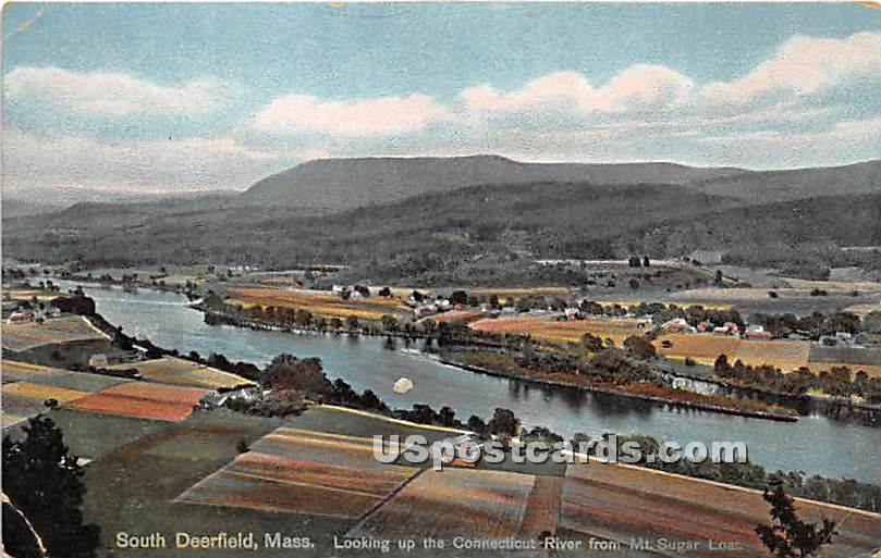 Connecticut River from Mt Sugar Loaf - South Deerfield, Massachusetts MA Postcard