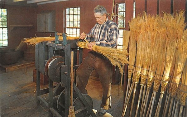 The broommaker at work Sturbridge, Massachusetts Postcard