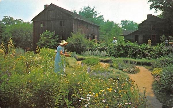 At work in Herb Garden Sturbridge, Massachusetts Postcard