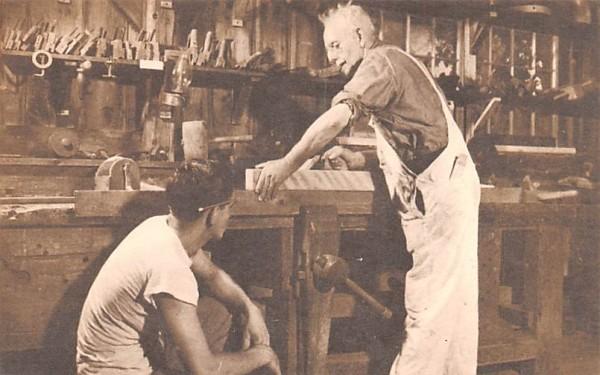 Wood Turner & His Apprentice Sturbridge, Massachusetts Postcard
