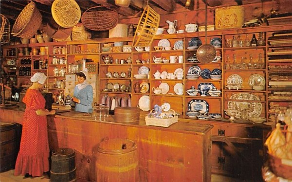 Interior view of Miner Grant's General Store Sturbridge, Massachusetts Postcard