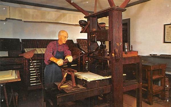 Printing a facsimile copy Sturbridge, Massachusetts Postcard