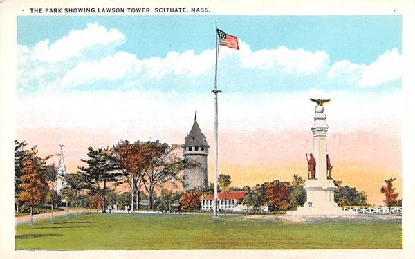 The Park Showing Lawson Tower Scituate, Massachusetts Postcard