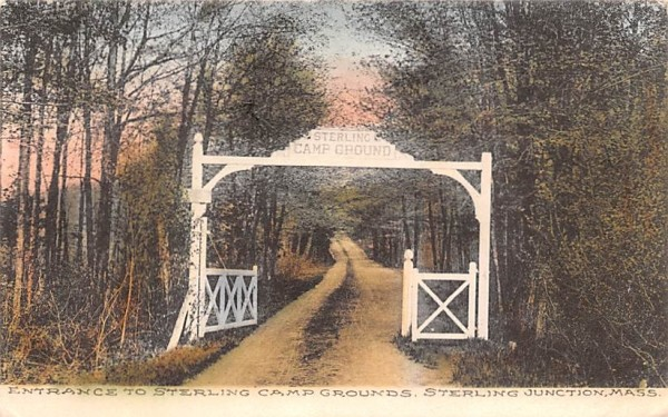 Entrance to Sterling Camp Grounds Sterling Junction, Massachusetts Postcard