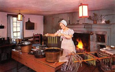 A Village Candlemaker at work Sturbridge, Massachusetts Postcard