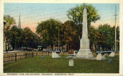 Monument Park & Soldiers Monument - Leominster, Massachusetts MA Postcard