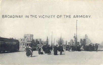 Broadway by the Armory - Chelsea, Massachusetts MA Postcard