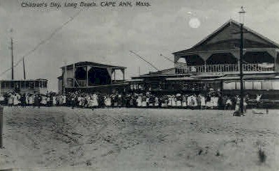 Reproduction - Childrens Day, Long Beach - Cape Ann, Massachusetts MA Postcard