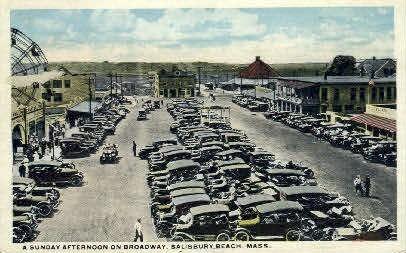 A Sunday Afternoon on Broadway - Salisbury Beach, Massachusetts MA Postcard