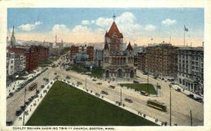 Copley Square & Trinity Church - Boston, Massachusetts MA Postcard