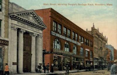 Main St. & People's Savings Bank  - Brockton, Massachusetts MA Postcard