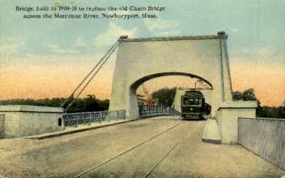 Bridge across Merrimac River (1909) - Newburyport, Massachusetts MA Postcard