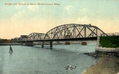 Bridge over Merrimac River - Newburyport, Massachusetts MA Postcard