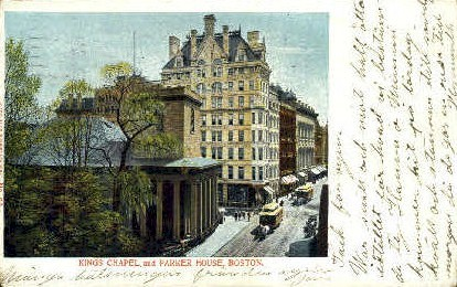 Kings Chapel & Parker House - Boston, Massachusetts MA Postcard