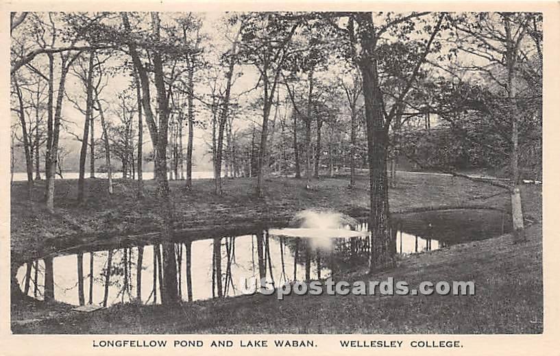 Longfellow Pond & Lake Waban at Wellesley College - Massachusetts MA Postcard